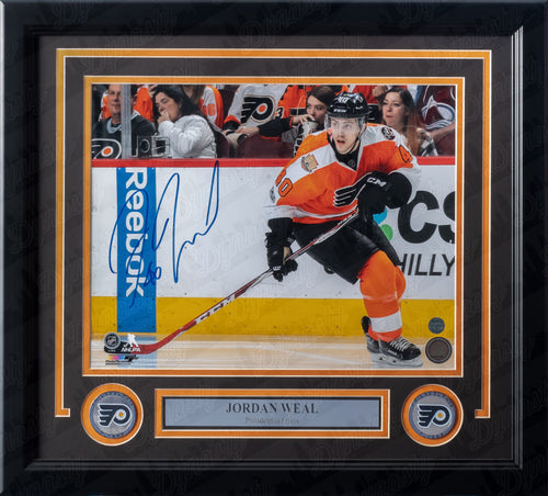 Jordan Weal in Action Autographed Philadelphia Flyers Framed Hockey Photo - Dynasty Sports & Framing