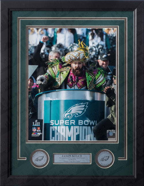 Philadelphia Eagles Super Bowl LII Championship Parade Jason Kelce Speech NFL Football Framed and Matted Photo