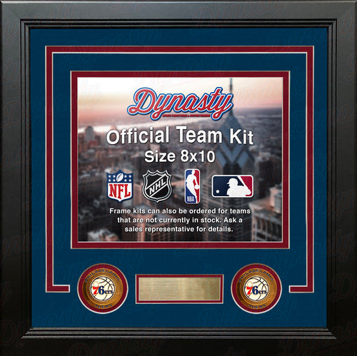 Philadelphia 76ers NBA Basketball Photo Picture Frame (Blue Matting, Red Trim) - Dynasty Sports & Framing