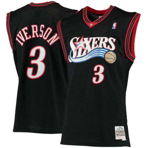 Allen Iverson Philadelphia 76ers Mitchell & Ness Black 2000-01 Hardwood Classics Swingman Jersey - Dynasty Sports & Framing