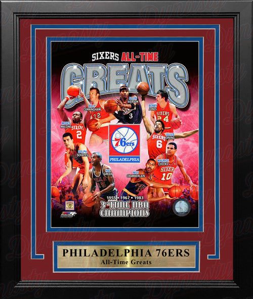 Philadelphia 76ers All-Time Greats Basketball Framed & Matted Photo - Dynasty Sports & Framing