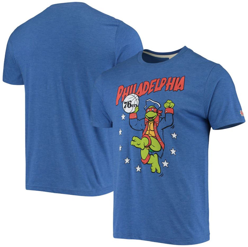 Philadelphia 76ers NBA x Teenage Mutant Ninja Turtles Men's Homage Tri-Blend T-Shirt - Dynasty Sports & Framing