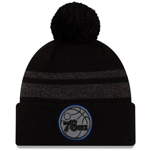 Philadelphia 76ers New Era Black Cuffed Knit Hat with Pom - Dynasty Sports & Framing