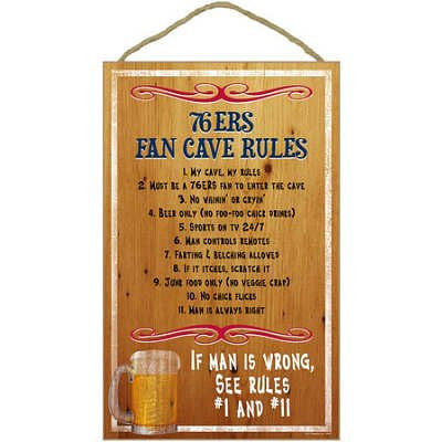 Philadelphia 76ers Fan Cave Rules NBA Basketball Wooden Sign - Dynasty Sports & Framing