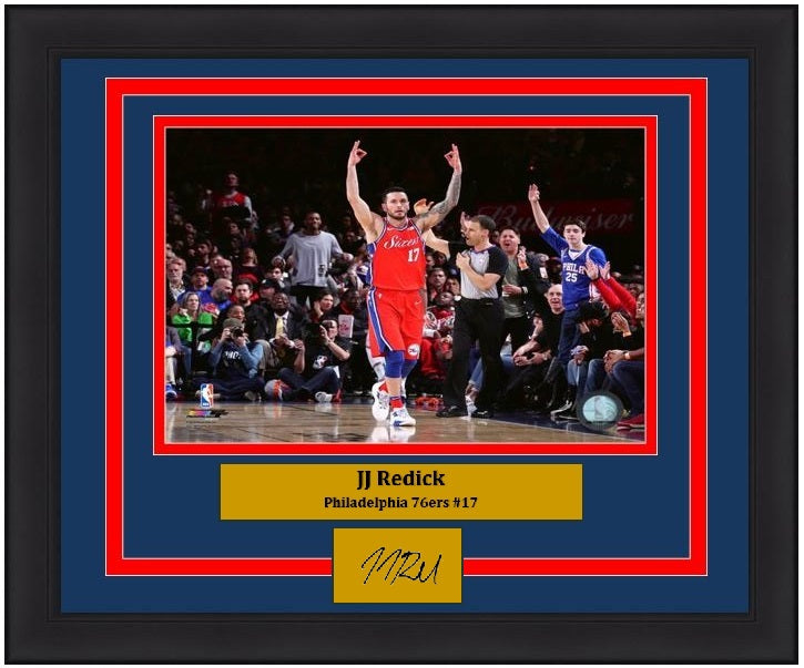 "JJ Redick Philadelphia 76ers Celebration NBA Basketball 8"" x 10"" Framed and Matted Photo with Engraved Autograph"