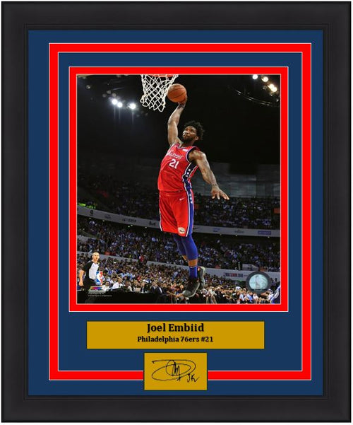 "Joel Embiid Aerial Dunk Philadelphia 76ers NBA Basketball 8"" x 10"" Framed and Matted Photo with Engraved Autograph"