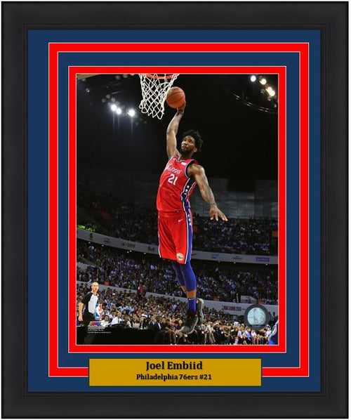 "Joel Embiid Aerial Dunk Philadelphia 76ers NBA Basketball 8"" x 10"" Framed and Matted Photo"