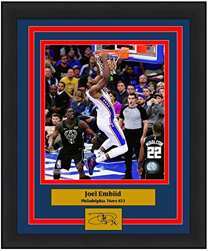 "Joel Embiid Slam Dunk Philadelphia 76ers NBA Basketball 8"" x 10"" Framed and Matted Photo with Engraved Autograph"