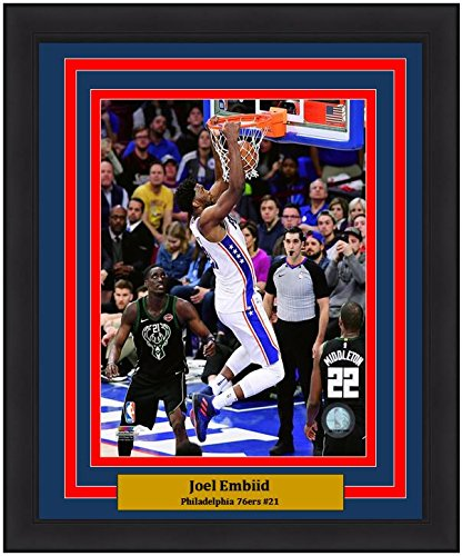 "Joel Embiid Slam Dunk Philadelphia 76ers NBA Basketball 8"" x 10"" Framed and Matted Photo"