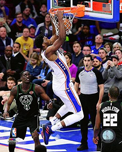 "Joel Embiid Slam Dunk Philadelphia 76ers NBA Basketball 8"" x 10"" Photo"