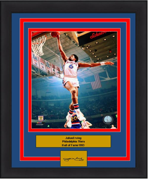 Julius Erving Windmill Dunk Philadelphia 76ers 8x10 Framed Basketball Photo with Engraved Autograph - Dynasty Sports & Framing