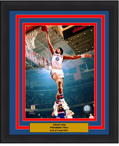 "Julius ""Dr. J"" Erving Windmill Dunk Philadelphia 76ers NBA Basketball 8"" x 10"" Framed & Matted Photo - Dynasty Sports & Framing"