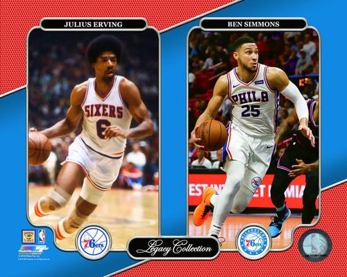 "Julius Erving & Ben Simmons Philadelphia 76ers NBA Basketball 8"" x 10"" Legacy Photo"