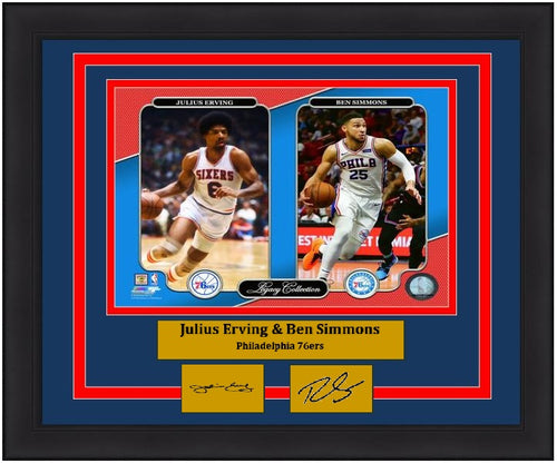 "Julius Erving & Ben Simmons Philadelphia 76ers NBA Basketball 8"" x 10"" Framed and Matted Legacy Photo with Engraved Autographs"