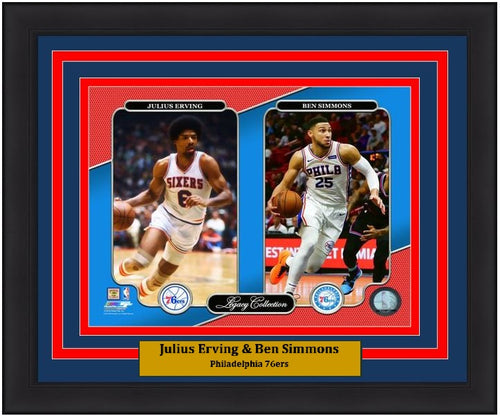 "Philadelphia 76ers Julius Erving & Ben Simmons NBA Basketball 8"" x 10"" Framed and Matted Legacy Photo"
