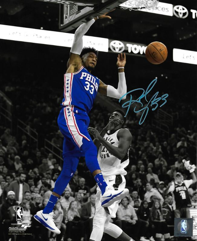 Robert Covington Slam Dunk Philadelphia 76ers Autographed NBA Basketball Photo