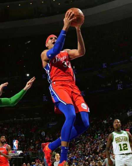 "Tobias Harris Action Driving the Lane Philadelphia 76ers NBA Basketball 8"" x 10"" Photo - Dynasty Sports & Framing"