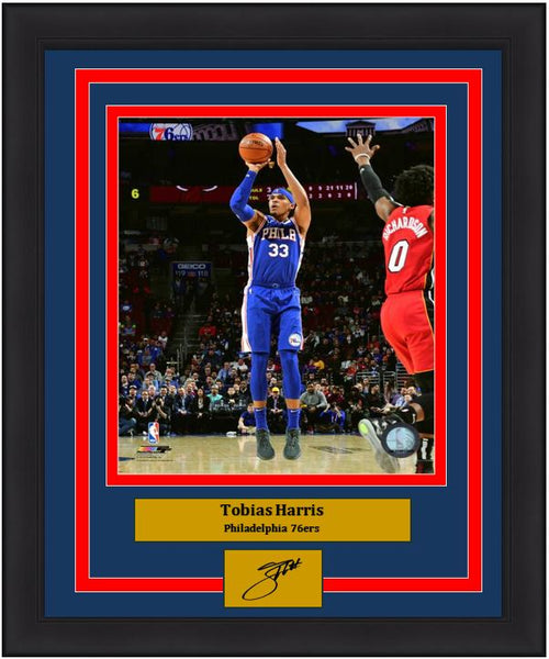 "Tobias Harris Action Taking a Shot Philadelphia 76ers NBA Basketball 8"" x 10"" Framed and Matted Photo with Engraved Autograph - Dynasty Sports & Framing"