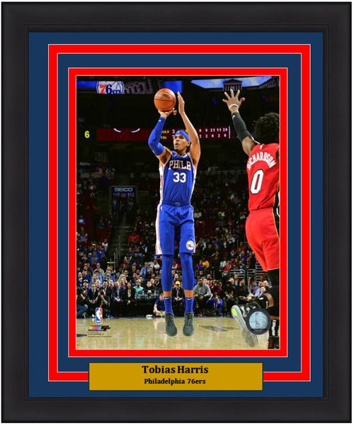 "Tobias Harris Action Taking a Shot Philadelphia 76ers NBA Basketball 8"" x 10"" Framed and Matted Photo"