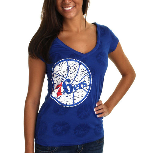 Philadelphia 76ers NBA Basketball Women's Burnout V-Neck Blue T-Shirt - Dynasty Sports & Framing