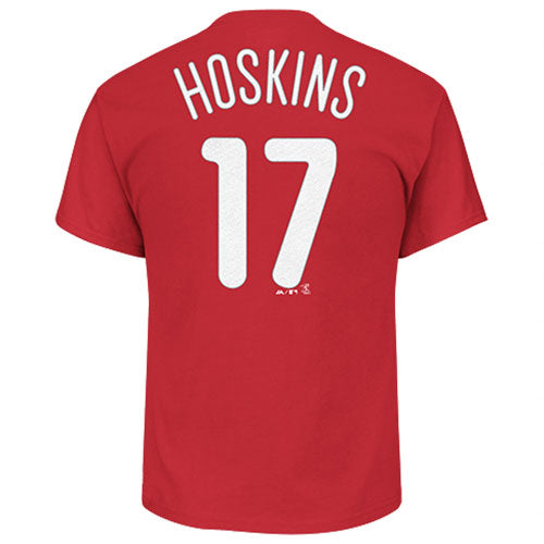 Rhys Hoskins Philadelphia Phillies Majestic Official Name & Number T-Shirt - Red
