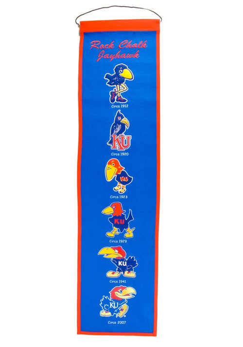 Kansas Jayhawks NCAA Logo Heritage Banner - Dynasty Sports & Framing