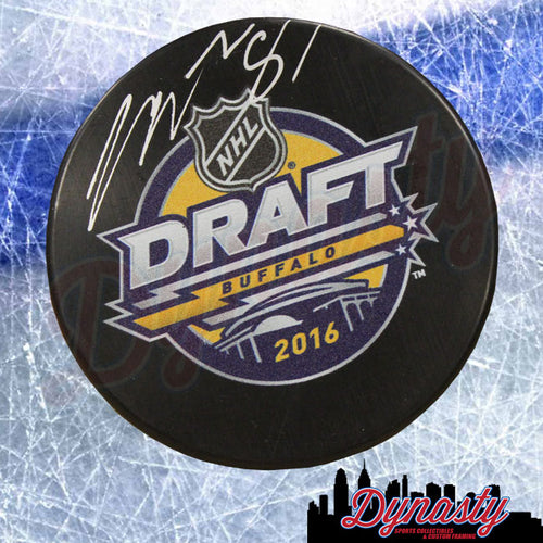 Carsen Twarynski Philadelphia Flyers Autographed NHL Hockey 2016 Draft Logo Puck - Dynasty Sports & Framing