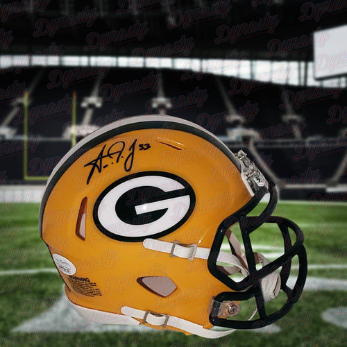 Aaron Jones Green Bay Packers Autographed Football Speed Mini-Helmet