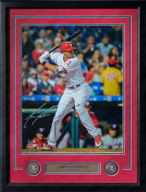 Philadelphia Phillies Aaron Altherr At-Bat Autographed MLB Baseball Framed and Matted Photo
