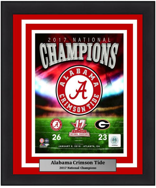 "Alabama Crimson Tide 2017 National Champions College Football 8"" x 10"" Framed and Matted Photo - Dynasty Sports & Framing"