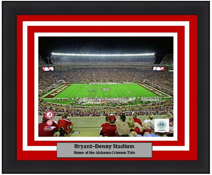 "Alabama Crimson Tide Bryant-Denny Stadium NCAA College Football 8"" x 10"" Framed and Matted Photo"