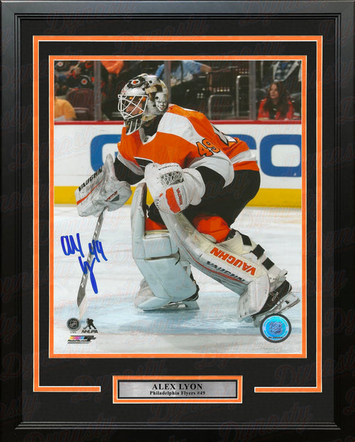 "Alex Lyon in Goal Philadelphia Flyers Autographed 16"" x 20"" Framed Hockey Photo - Dynasty Sports & Framing"
