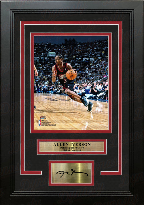 "Allen Iverson in Action Philadelphia 76ers 8"" x 10"" Framed Basketball Photo with Engraved Autograph - Dynasty Sports & Framing"
