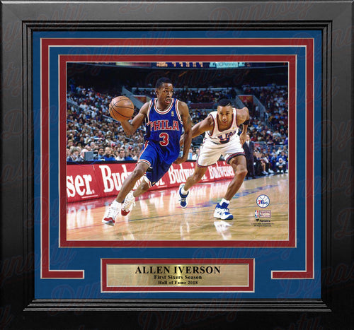 "Allen Iverson Rookie Year Action Philadelphia 76ers 8"" x 10"" Framed Basketball Photo"