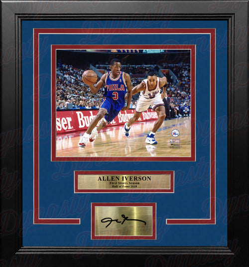 Allen Iverson Rookie Year Philadelphia 76ers 8x10 Framed Basketball Photo with Engraved Autograph