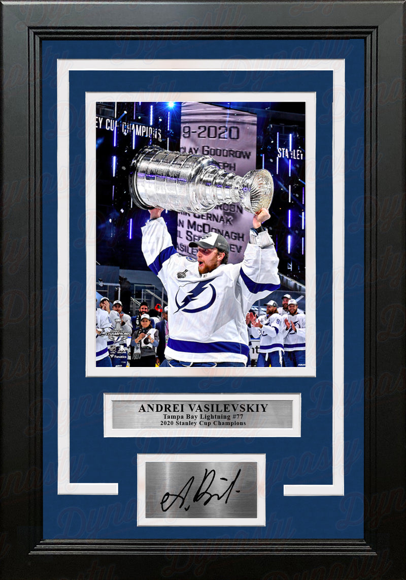 Andrei Vasilevskiy 2020 Stanley Cup Tampa Bay Lightning 8x10 Framed Photo with Engraved Autograph - Dynasty Sports & Framing