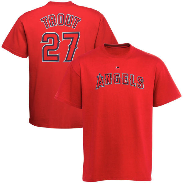 Los Angeles Angels of Anaheim Mike Trout Name/Number T-Shirt (Red) - Dynasty Sports & Framing