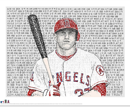 "Los Angeles Angels of Anaheim Mike Trout 2014 MVP Word Art MLB Baseball 16"" x 20"" Word-Art Photo"