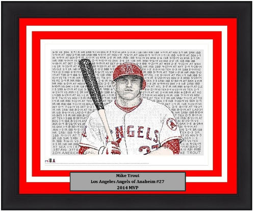 "Los Angeles Angels of Anaheim Mike Trout 2014 MVP Word Art MLB Baseball 16"" x 20"" Word-Art Framed and Matted Photo"