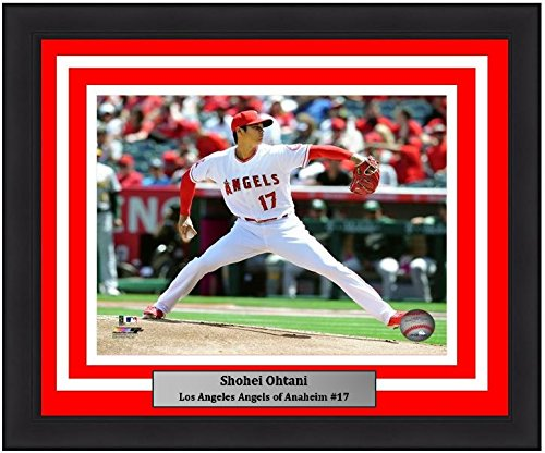 "Los Angeles Angels of Anaheim Shohei Ohtani Pitching MLB Baseball 8"" x 10"" Framed and Matted Photo - Dynasty Sports & Framing"