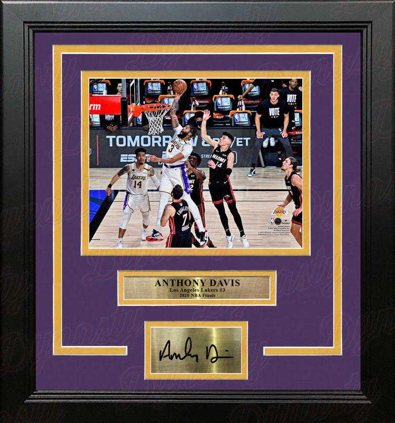 Anthony Davis 2020 NBA Finals Slam Dunk Los Angeles Lakers 8x10 Framed Photo with Engraved Autograph - Dynasty Sports & Framing