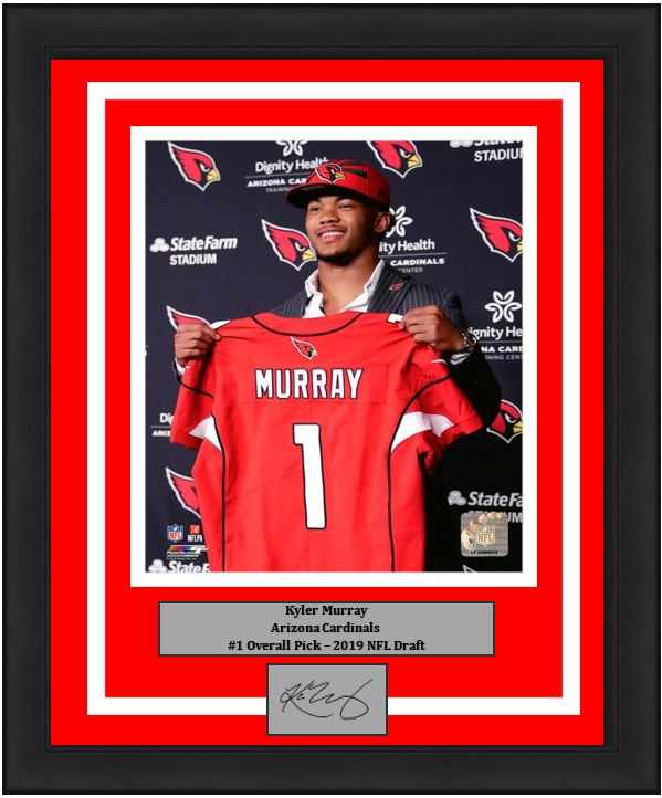 "Kyler Murray Arizona Cardinals 2019 NFL Draft Football 8"" x 10"" Framed and Matted Photo with Engraved Autograph - Dynasty Sports & Framing"