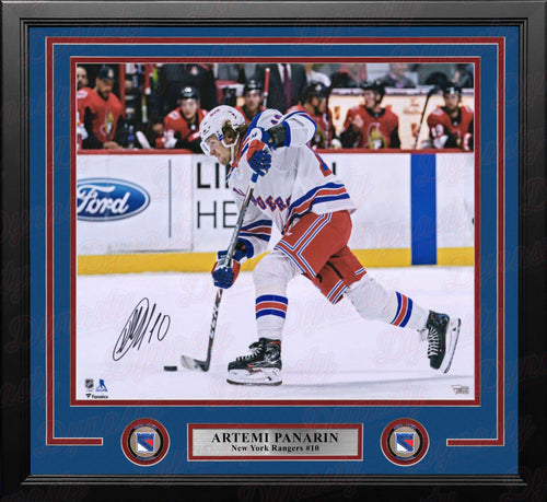 "Artemi Panarin in Action New York Rangers Autographed 16"" x 20"" Framed Hockey Photo - Dynasty Sports & Framing"