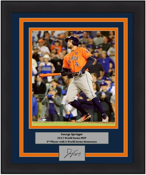 "Houston Astros 2017 World Series MVP George Springer Engraved Autograph MLB Baseball 8"" x 10"" Framed and Matted Photo (Dynasty Signature Collection)"