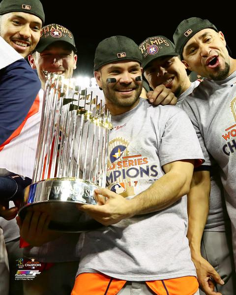 "Houston Astros 2017 World Series Champions Jose Altuve Trophy MLB Baseball 8"" x 10"" Photo"