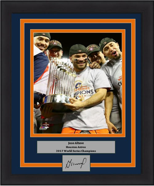 "Houston Astros 2017 World Series Champions Jose Altuve Trophy Engraved Autograph MLB Baseball 8"" x 10"" Framed and Matted Photo (Dynasty Signature Collection)"