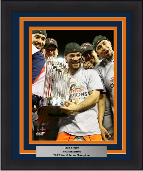 "Houston Astros 2017 World Series Champions Jose Altuve Trophy MLB Baseball 8"" x 10"" Framed and Matted Photo"