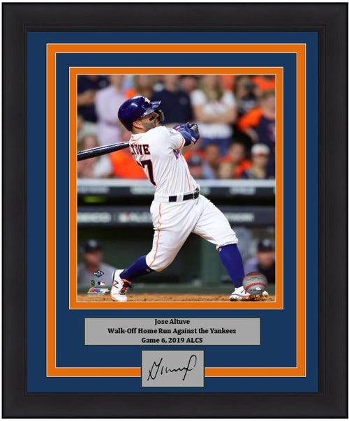 "Jose Altuve Astros 2019 ALCS Game 6 Walk-Off Home Run 8"" x 10"" Framed Baseball Photo with Engraved Autograph"