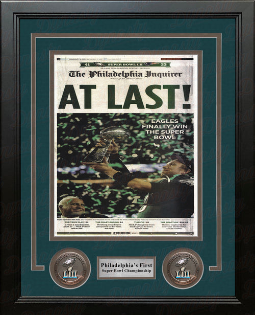Philadelphia Eagles Super Bowl Champions 'At Last' Inquirer Framed Photo - Dynasty Sports & Framing