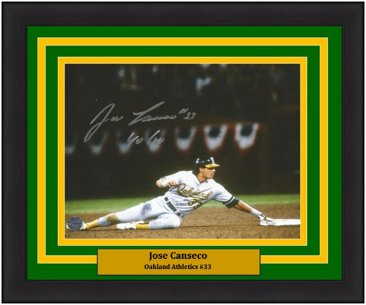 "Jose Canseco Oakland Athletics Autographed MLB Baseball 8"" x 10"" Framed and Matted Photo with 40/40 Inscription - Dynasty Sports & Framing"